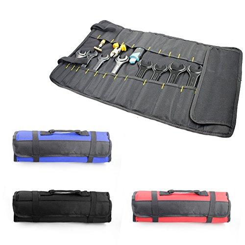 Werkzeug-Rolltasche, 22 Taschen, Steckschlüssel-Organizer, Werkzeug-Aufbewahrungstasche, multifunktional, faltbar, tragbarer Tragegriff für Mechaniker, Elektriker, Handwerker, schwarz -