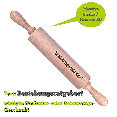 Teigroller Holz mit Gravur \'Beziehungsratgeber\' / Hochzeit Geschenk - Geburtstag
