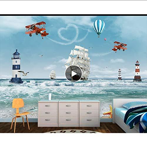 Cczxfcc Tapeten Benutzerdefinierte Moderne Foto Mural Kinder 3D Cartoon Ozean Meer Boot Hubschrauber Nordischen Stil Für Schlafzimmer Kinderzimmer-450Cmx300Cm (450 3d Hubschrauber)