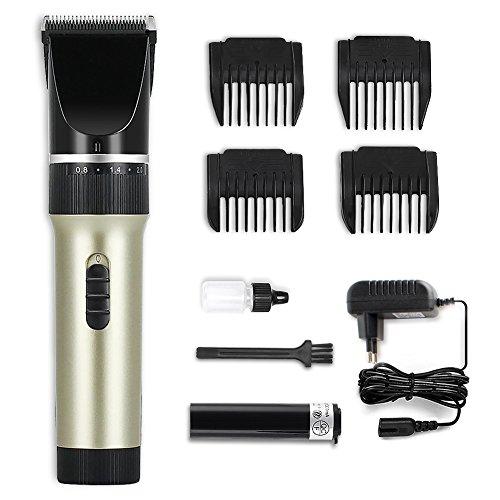 KYG Haarschneider Set Profi Haarschneidemaschine mit 4 Kammaufsätze, Haarschneider für Akku-und Netzbetrieb für Männer Kinder, X6, Gold