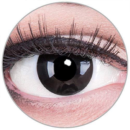 Funnylens Farbige schwarze Kontaktlinsen Black Out Crazy Fun - weich ohne Stärke 2er Pack + gratis Behälter - 12 Monatslinsen - perfekt zu Halloween Karneval Fasching oder Fasnacht (Black Butler Kontaktlinsen)
