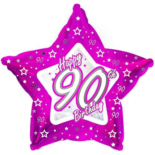 90th Birthday Pink Stern Ballon (46cm) (Pink) ()