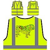 Englisch Bulldogge Bunten Boho Stil 1 Personalisierte High Visibility Gelbe Sicherheitsjacke Weste s838v