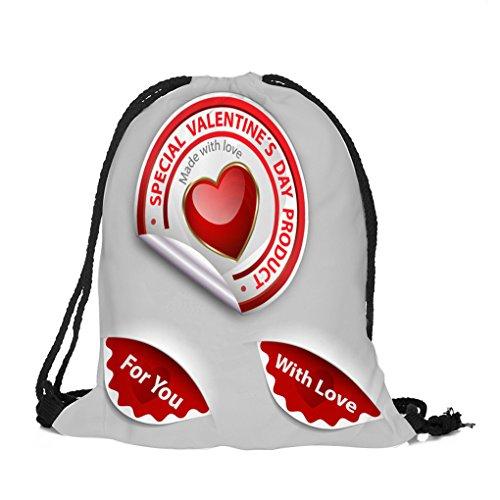 Dorical Rucksack Bag (39 x 32 cm) Valentinstag-Kordelzugbeutel Bunter Happy Süß 3D Gedruckt Rucksack/Sport-Gymnastikreisetasche Beutel Sportbeutel Tasche für Damen und Herren Sale