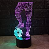 ATMKOO 3D Night Light Football Mr. LED Illusion Light 7 Color Touch Switch Table Children\'s Table Lamp Gift Life Bed Room Bar Best Gift Toy