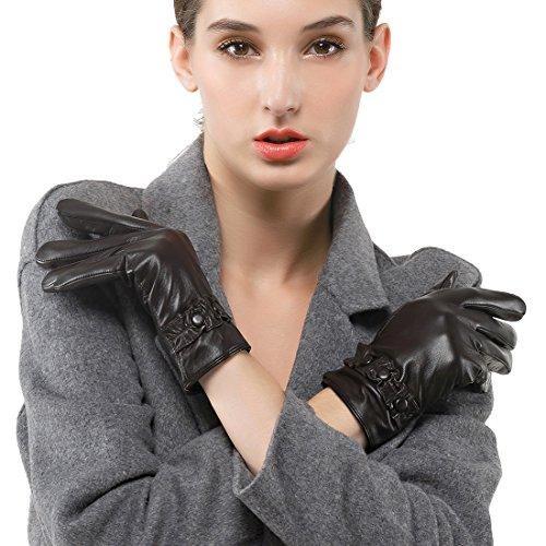 des gants en cuir nappa - italienne nappaglo court chaud avec écran tactile des gants en dentelle décorative de poignet brun foncé (Non-tactile)