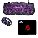 gaming Tastatur und Maus Set beleuchtet mit Mousepad einstellbar Hintergrundbeleuchtung Blitz Krack 114 Tasten LED USB Kabel Multimedia Tastenkombination Multi-Funktion Keyboard Mouse Combo PC Laptop (QWERTY englisches Tastaturlayout) schwarz