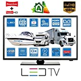 Barco DE Caravan DE Motorhome 12V 22'Pulgada (56 cm) FHD 1080p LED Digital DVB-T2 (TV al Aire Libre) y DVB-S2 (satélite Gratis) TV USB de 12 voltios PVR por Unispectra (Enchufe de la UE)