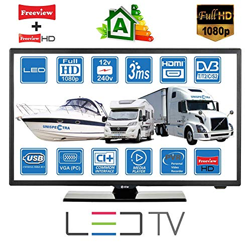 Wohnmobile Wohnwagen Camping Boot 12 Volt 22 Zoll 56 cm LED Digitales Full HD Fernseher DVB-T2/C/S2 TV