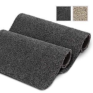 GadHome wasserabsorbierende Fußmatte, Anthrazit 40 cm x 60 cm   Fußmatte für innen und außen   rutschfeste, waschbare, schnell trocknende Haustürmatte aus weicher Baumwolle für Innen und Außen