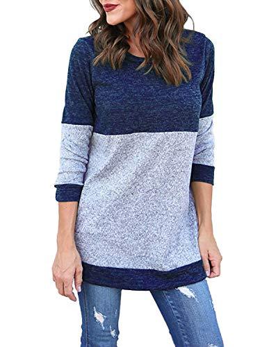Kyerivs Damen Langarm Shirts Strick Oberteil Pullover Rundhals Casual Jumper Tops (Blau, M)