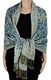 Peach Couture Women's 71 cm x 198 cm Elegant Reversible Floral Paisley Pashmina Feel Shawl Wrap (Turquoise)