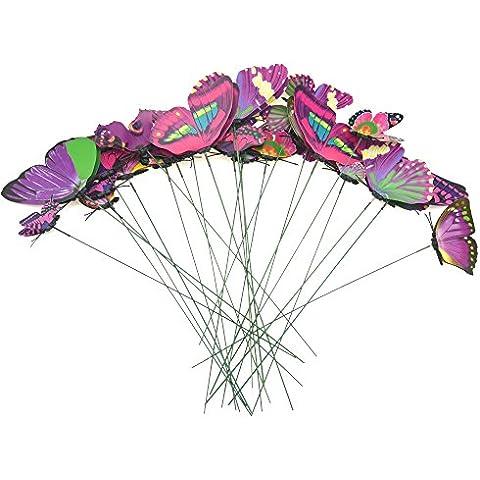 FiveSeasonStuff 24 Piezas 3D Mariposas Adhesivos Colección / 3D Efecto Mariposas Pegatinas con Alambre de Metal para la Decoración del Jardín de el Arreglo Floral / Anualidades Bricolaje (Mezcla Rosado Púrpura y Verde)