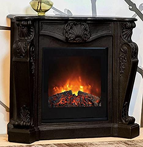 Casa Padrino Baroque stone fireplace Black with electric insert - Electric fireplace - Living room Antique style Art Nouveau