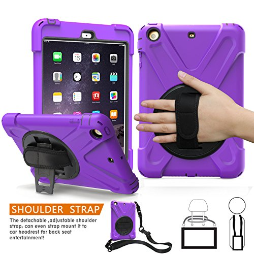1. Fällen Mini Ipad Generation (iPad Mini 1., 2., 3. Generation Fall, braecn dreilagiger Heavy Duty Soft Hard Silikon Bumper Case mit 360 Grad Drehgelenk Ständer/A Handschlaufe und einen Schultergurt für iPad Mini 1 2 3 Fall (Purple))