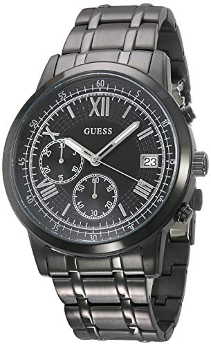 Guess Herren Chronograph Quarz Uhr mit Edelstahl Armband W1001G3 (Herren-uhr Guess)