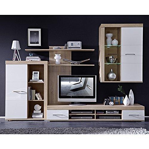 Wohnwand & Sideboard Set DRIVEPLUS258 Hochglanz weiß, Sonoma Eiche - 3