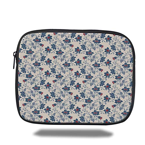 air 2/3/4/mini 9.7 inch,Floral,Classic Flowers with Vivid Blooms and Victorian Vintage Effects Pattern Decorative,Cream Night Blue Ruby ()