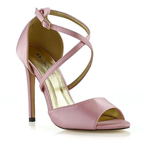 ESSEX GLAM Donna Tacco a Spillo Cinturino alla Caviglia Sandali Le Signore Nuziale Scarpe (39 EU, Rosa Pastello Satin)