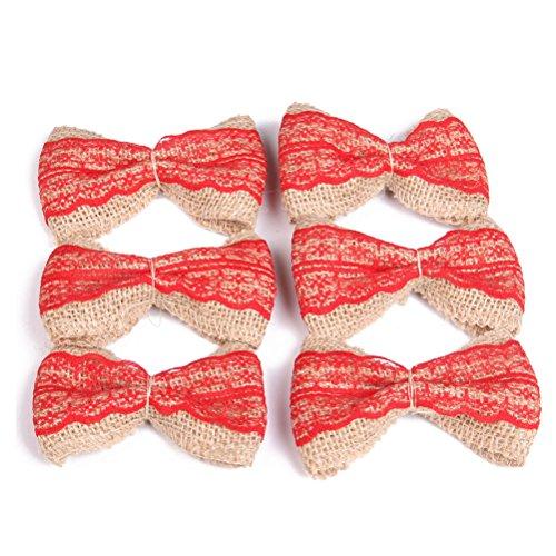 OULII Iuta della tela da imballaggio con fiocchi per arredamento partito 6pcs(rosso)