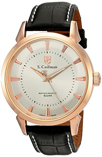 S.Coifman Men's Quartz Watch with Rose Gold Dial Analogue Display and Black Leather Strap SC0287