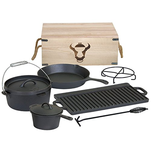 Dutch Oven Set in Holzkiste, 7-teilig