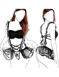 popiv Mujer Erótica Ropa Interior Apretada Malla Body Elástico Mallas Encaje Floral Translúcido
