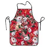 quanzhouxuhuixiefu Fashion Chef Apron,Men & Women Bib Apron for Cooking, Baking, Crafting, Gardening, BBQ-Orange Coral