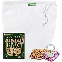 SACCHETTO PER LATTE VEGETALE - NECTARBAR (Eco) RAW FOOD FILTER BAG per la produzione di latte vegetale di altissima qualità, perfetta per la preparazione di latte di frutta secca, di mandorle, di cereali, formaggio di noci, per la produzione di succhi, la coltivazione di germogli, la crescita di noci e semi, la pulizia di riso e quinoa, come filtro per l'estrazione a freddo del caffè (Cold Brew Coffee), come colino, setaccio, come pratico utensile per la cucina crudista e vegana