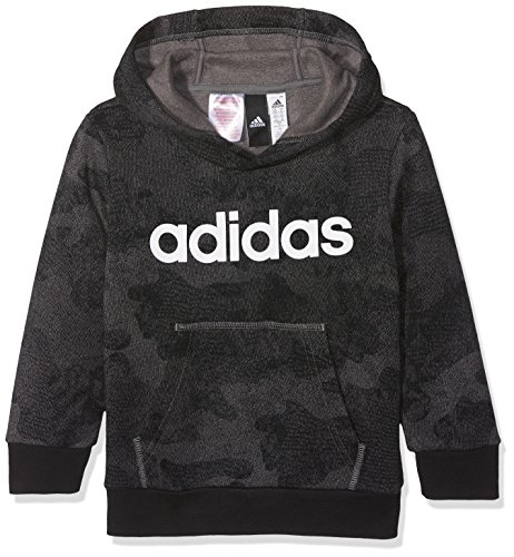 adidas Kinder Linear Hoodie, Grefou/Black/White, 128 - Avenue Gerippter Pullover