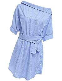 Phenovo Womens Summer Fashion Casual Outer Dating Wear Off Shoulder Stripe Charms Shirt Tunic Dress With Belt