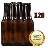 Botellas vacias de cerveza 33cl reutilizables con chapa incluidas | kit 20 botellines y 200 chapas...