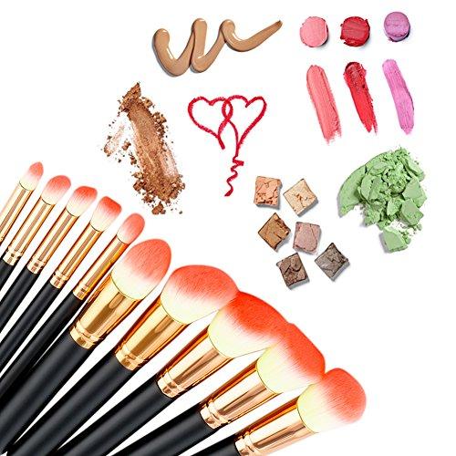 Greatlizard Kit De Pinceau Maquillage Professionnel 10PCS Noir Eyebrow Shadow Blush Fond De Teint Anti-Cerne
