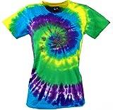 Guru-Shop Batik T-Shirt, Tie Dye Goa Shirt, Damen, Lila/grün, Baumwolle, Size:S (36), Tops, T-Shirts, Shirts Alternative Bekleidung