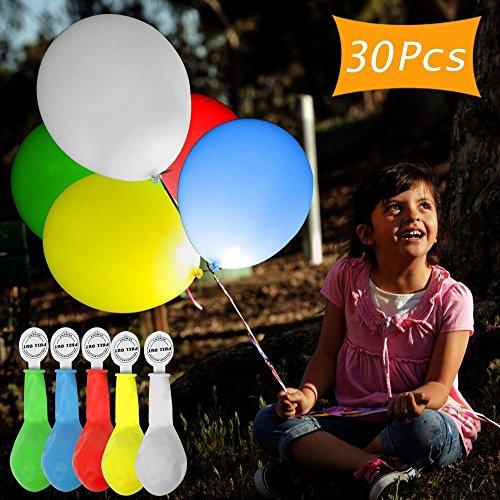UBEGOOD LED Luftballons, LED leuchtende Luftballons LED Ballons 30 Stück Blinkendes Licht Ballons Bunt schöne Ballon für die Party, Geburtstag, Hochzeit, Festival