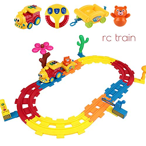 DUCKTOYS RC Trains Glowing Toys, Sound Electric Remote Control Track Small Train Model Cartoon Children Toy for Boys Girls