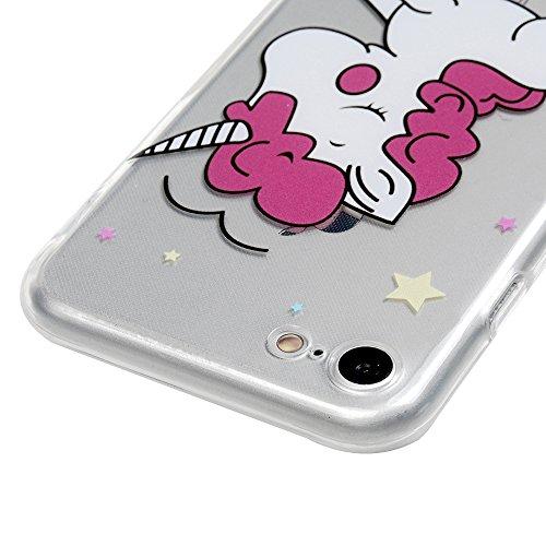MAXFE.CO Schutzhülle Tasche Case für iPhone 6 Plus/6S Plus TPU Silikon Cover mit Diamanten Etui Protective Schale Bumper Knallblau Einhorn 2