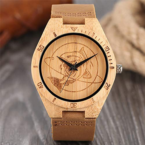 QMTFC Natural Wooden Wristwatch for Men, Casual Dress Style, Engraving, Crafts, Light dial, Bamboo Wooden Watch