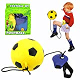 BBLIKE Football Kick Trainer Training Football Games Indoor& Outdoor Sport Football and Football Pump - Kick up Trainer Solo Soccer Practice Training Aid Control Skills - Perfect for Balance Ability and Rapid Response Capability Best Gift for Premiership Soccer Fan (Yellow)