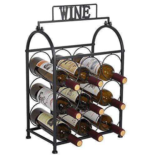 Küche-schränke-bar (DOSNVG Schmiedeeisen Weinregal, freistehende Metall Weinregal Display Weinregale halten 9 Flaschen perfekt für Bar, Küche, Arbeitsplatte, Tisch, Schrank (schwarz))