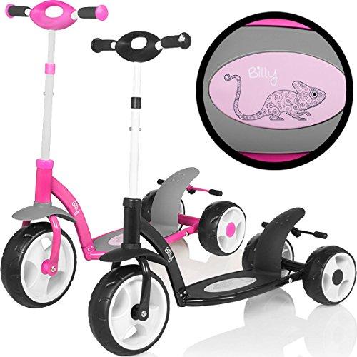 Stimo24 Kinder Roller / Scooter mit 3 Rädern und extra großer Trittfläche (Leichtgewicht-Stahlrahmen) (SCHWARZ)
