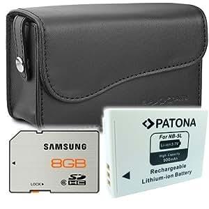 SET pour Canon Powershot SX210 SX220 SX230 Bundle: étui Baxxtar en cuir pour appareil photo + Patona batterie pour Canon NB-5L + Samsung Essential SDHC 8GB Class 6