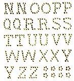 GLOREX P und D Buchstaben 13 mm N-Z Selbstklebend, Plastik, Gold, 14.5 x 8.6 x 0.2 cm