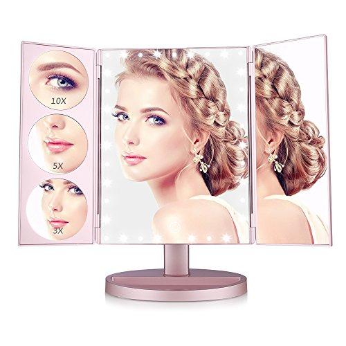 Easehold specchio per il trucco specchi ingranditori 1x /3x / 5x/ 10x touch screen da tavolo pieghevole triplo 35 leds rotazione di 180 gradi per bellezza, camera, hotel, studio (rose gold)