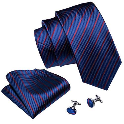 Seiden-schimmer-glanz (Barry.Wang Herren Krawatte Klassisches Strukturiertes Muster Seide Inklusive Einstecktuch und Manschettenknopf)