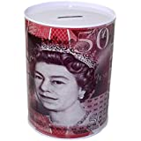 PoundSaver® £50 Fifty Pound Money Tin Can Box With Printed Piggy Bank Note For Saving Cash. (Large)