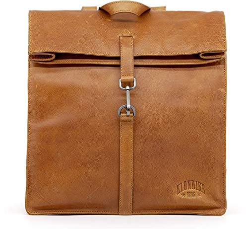 Klondike Mara Rucksack Damen Leder, Großer Lederrucksack Damen für Uni, Schule und Büro, Damenrucksack Leather Backpack - Cognac