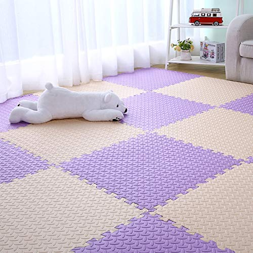 E.enjoy-tappeto puzzle piastrelle for pavimenti ad incastro for bambini in schiuma eva for bambini morbidi ad incastro spessore 60 cm x 60 cm 1,2 cm spessore (color : beige+purple, size : 8 piece)