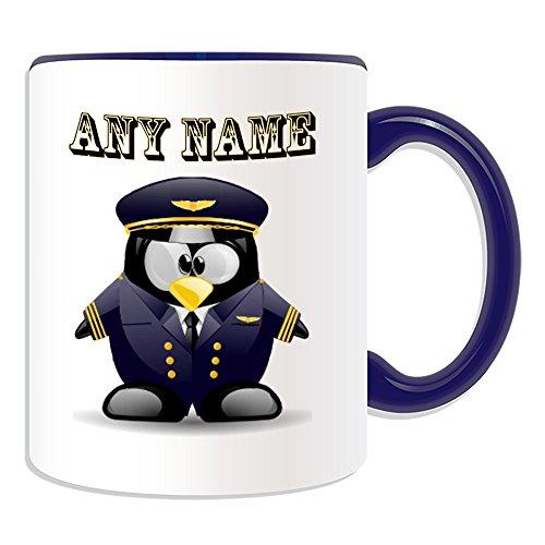 Personalisierter Becher in Marine-Pilot (in Pinguin-Kostüm-Design, verschiedene Farben), Name und Nachricht an ihr einzigartiges, Piloten Uniform Luftfahrzeuge, keramik, blau (Becher Kostüm)
