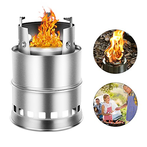 Estufa camping Pedernal fuego arranque supervivencia exterior luz portátil estufa estufa de leña solidificada cocina de acero inoxidable Picnic Barbacoa camping